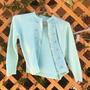 Whisper aqua vintage cardigan sweater